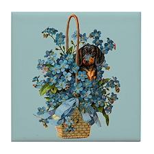 Dachshund in a Flower Basket Tile Coaster