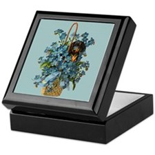 Dachshund in a Flower Basket Keepsake Box