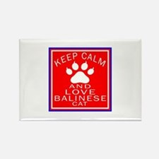 Keep Calm And Balinese Cat Rectangle Magnet