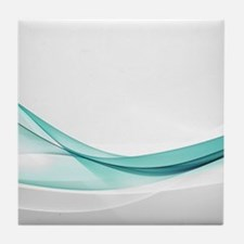 Teal Wave Abstract Tile Coaster
