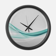 Teal Wave Abstract Large Wall Clock