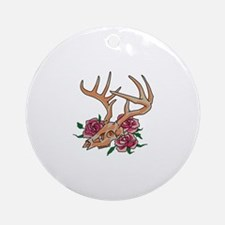 Deer Skull With Roses Round Ornament