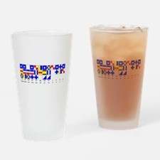 England Expects Signal Black text Drinking Glass