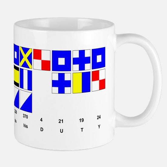 England Expects Signal Black text Mugs