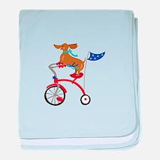 Dachshund On Bike baby blanket