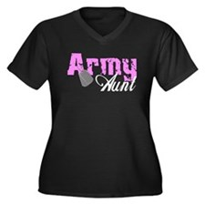 Army Aunt Women's Plus Size V-Neck Dark T-Shirt