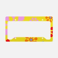 Colorful Retro Floral Pattern License Plate Holder