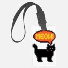 8-Bit Cat Meowing Luggage Tag