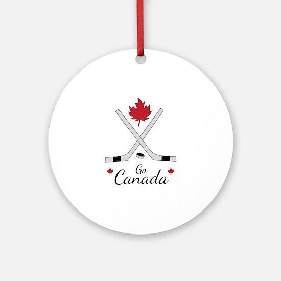 Go Canada Hockey Round Ornament