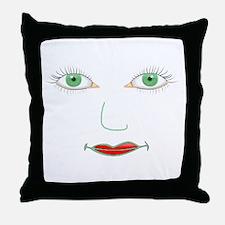 Green Eyes Face Throw Pillow