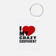 I Love Godparent Aluminum Photo Keychain
