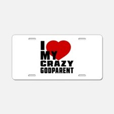 I Love Godparent Aluminum License Plate
