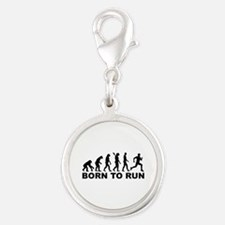 Evolution Born to run Silver Round Charm