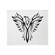 Tribal Phoenix Tattoo Bird Throw Blanket