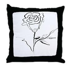 Calligraphy Rose Throw Pillow