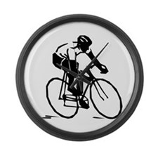 Cyclist Large Wall Clock