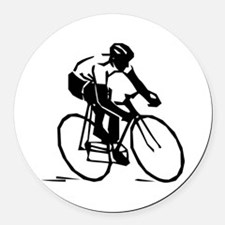 Cyclist Round Car Magnet