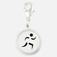 Running icon Silver Round Charm