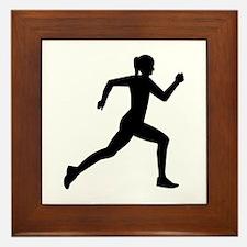 Running woman girl Framed Tile