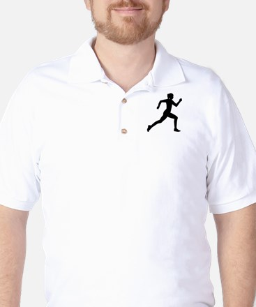 Running woman girl Golf Shirt