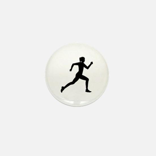 Running woman girl Mini Button
