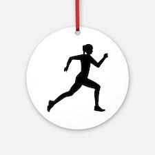 Running woman girl Round Ornament