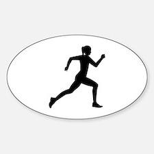 Running woman girl Sticker (Oval)