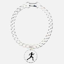 Running woman girl Charm Bracelet, One Charm