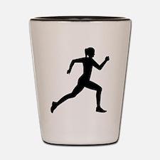 Running woman girl Shot Glass