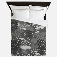 Pixel Grey and White Urban Camouflage Queen Duvet