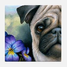 Dog 133 Pug Tile Coaster