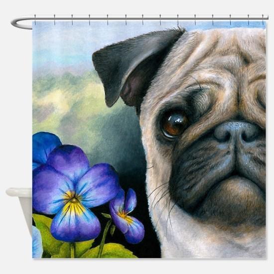 Dog 133 Pug Shower Curtain