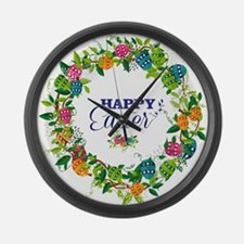 Happy Easter Colorful Eggs And Fl Large Wall Clock