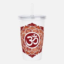 Lotus-OM-Red Acrylic Double-wall Tumbler