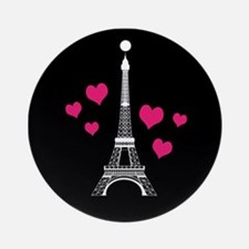 Pink Hearts White Eiffel Tower Round Ornament