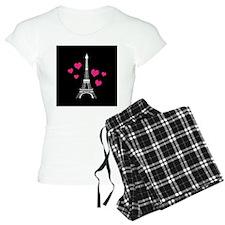 Pink Hearts White Eiffel Tower Pajamas