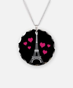 Pink Hearts White Eiffel Tower Necklace