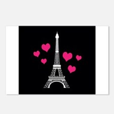 Pink Hearts White Eiffel Tower Postcards (Package