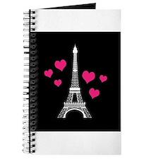 Pink Hearts White Eiffel Tower Journal