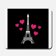 Pink Hearts White Eiffel Tower Mousepad