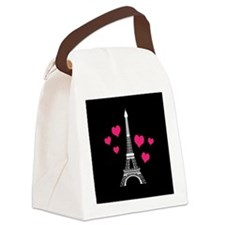 Pink Hearts White Eiffel Tower Canvas Lunch Bag
