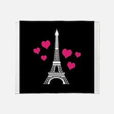 Pink Hearts White Eiffel Tower Throw Blanket