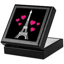 Pink Hearts White Eiffel Tower Keepsake Box