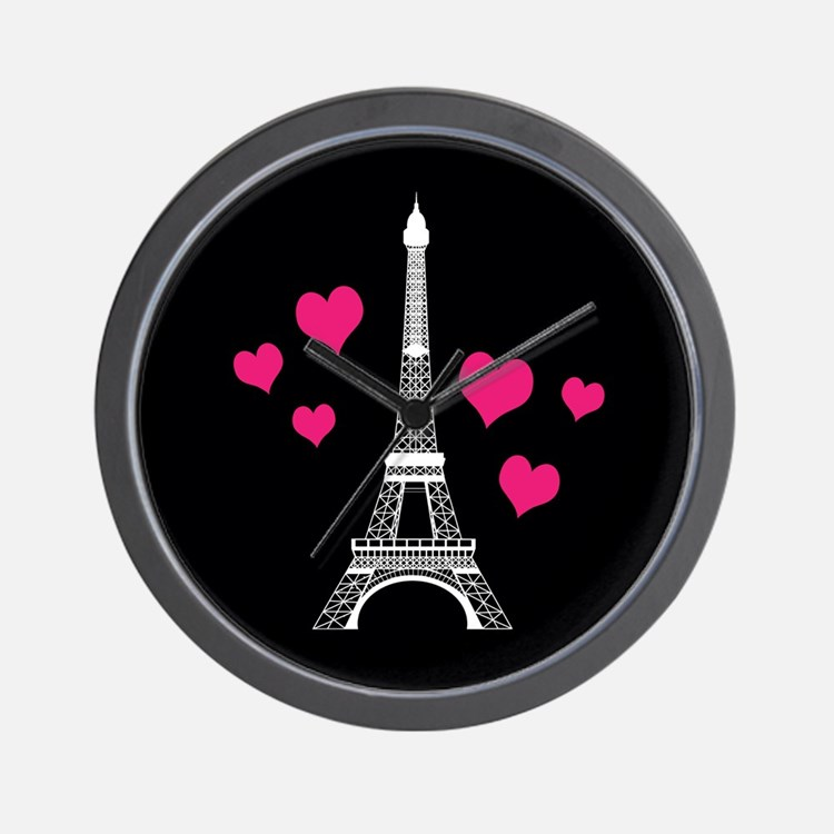 Pink Hearts White Eiffel Tower Wall Clock