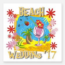 "Beach Wedding 17 Square Car Magnet 3"" x 3"""