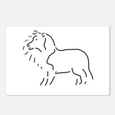Rough Collie Sketch Postcards (Package of 8)