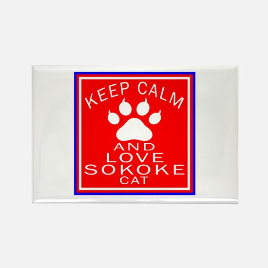 Keep Calm And Sokoke Cat Rectangle Magnet