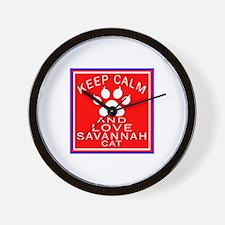 Keep Calm And Savannah Cat Wall Clock