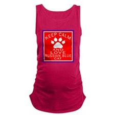 Keep Calm And Russian Blue Cat Maternity Tank Top
