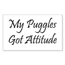 """My Puggles Got Attitude"" Rectangle Decal"